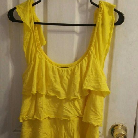 EXPRESS YELLOW DRESSY TOP Bright yellow ruffle express top Tops Tank Tops