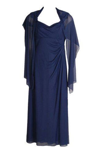 Atelier Danielle Cowl Neck Evening Dress with Shawl Navy Size 14 Lace & sequin detail on shoulders. Cowl neck. Full length dress. Matching shawl. 100% Polyester - hand washable.  #AtelierDanielle #Apparel