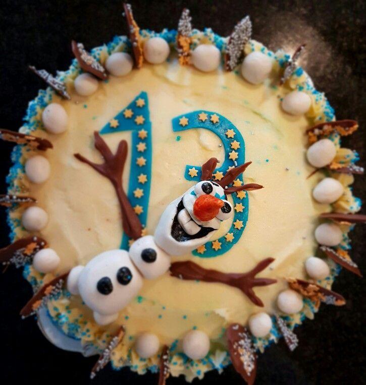 Red velvet Olaf birthday cake