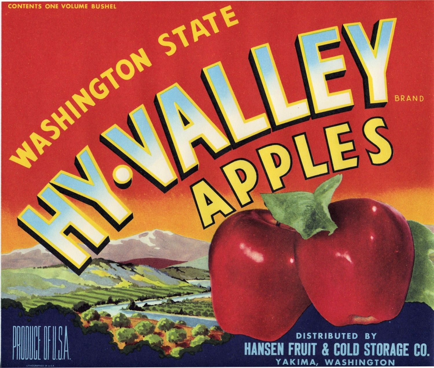 Hy Valley Apple Crate Label From Yakima Washington Etsy Crate Label Apple Crates Fruit Crate Label