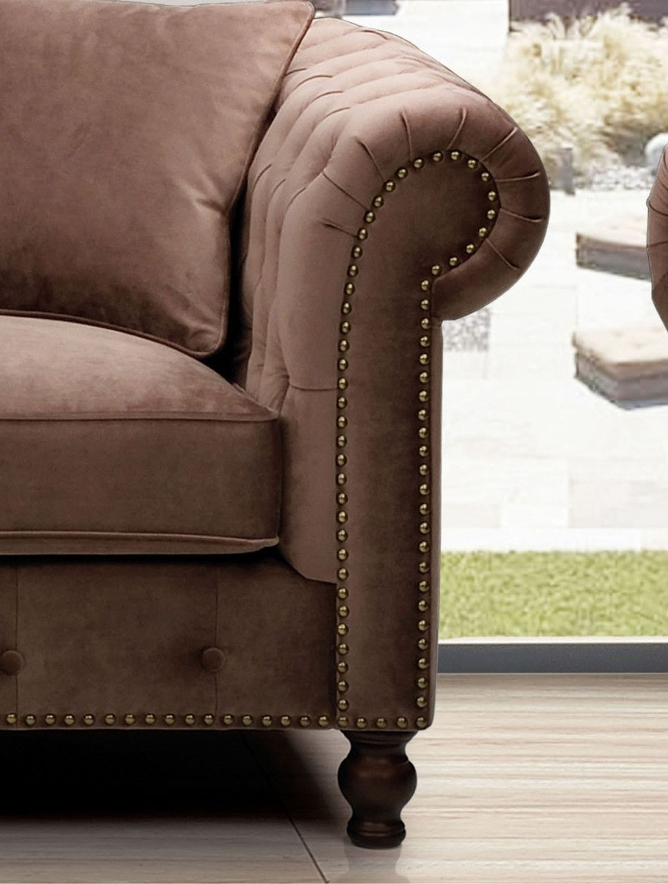 Room · ESF Sofa 108 Description : This Brown Microfiber Living ...