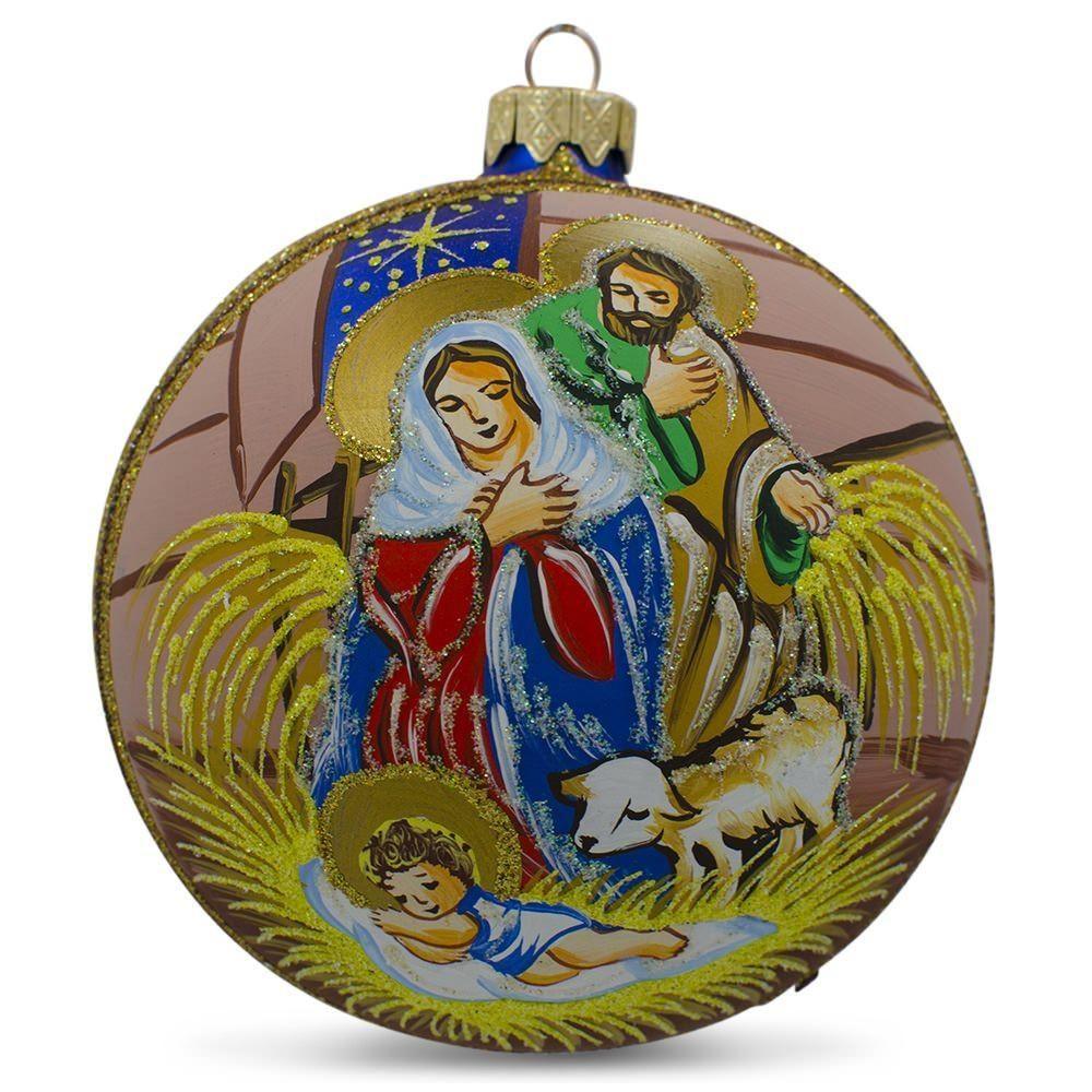 4 baby jesus sleeping nativity scene ball christmas ornament