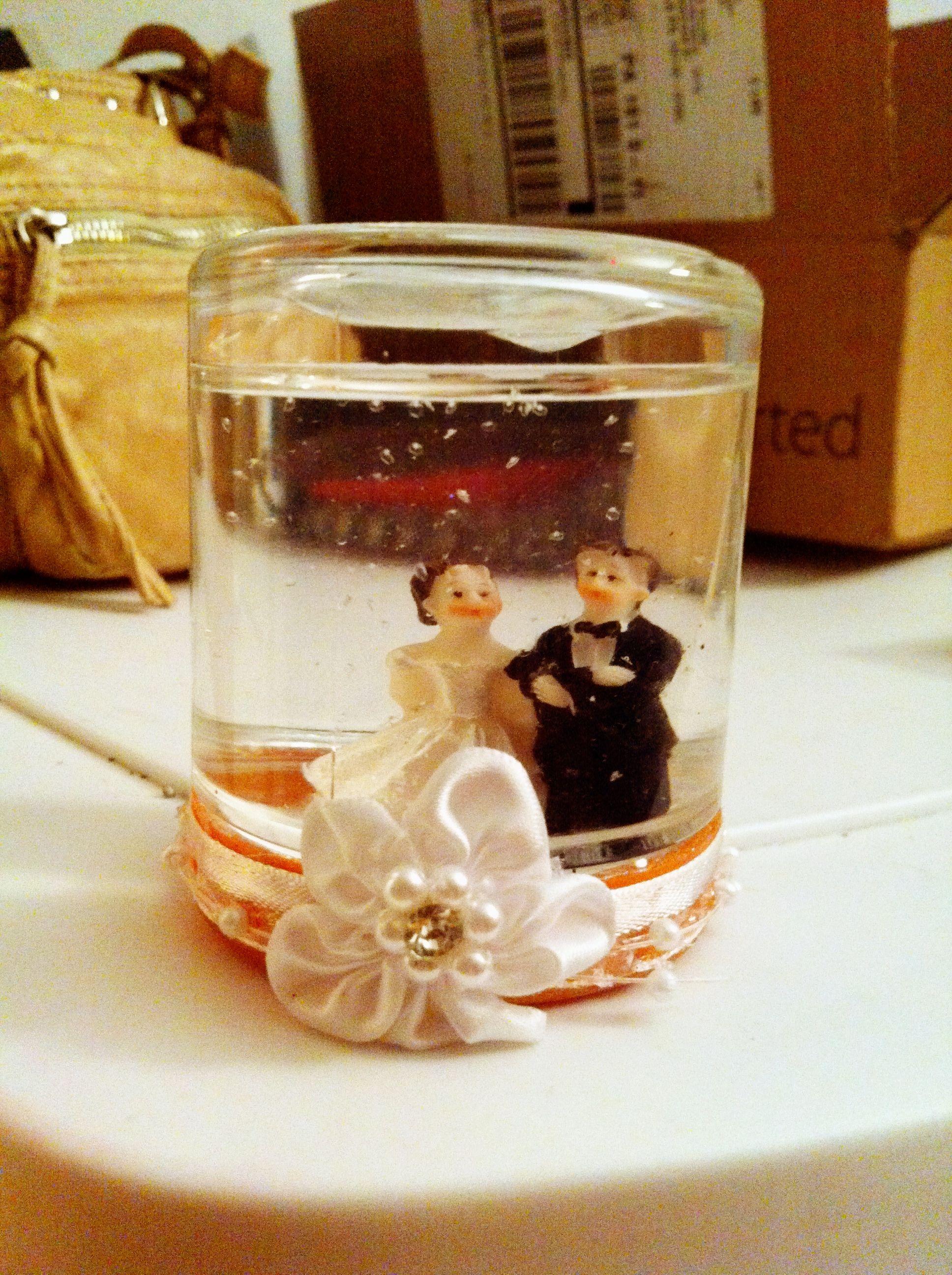 Homemade wedding snow globe my mom made