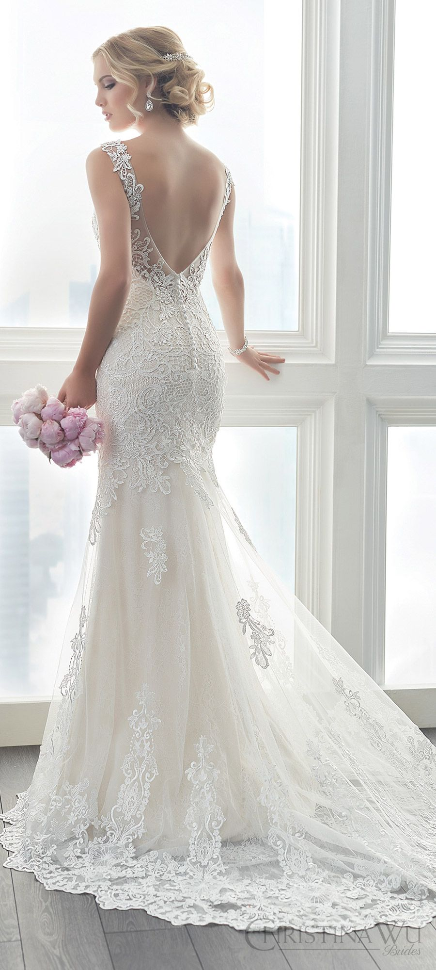 Lace v neck wedding dress  christina wu brides spring  bridal sleeveless illusion straps