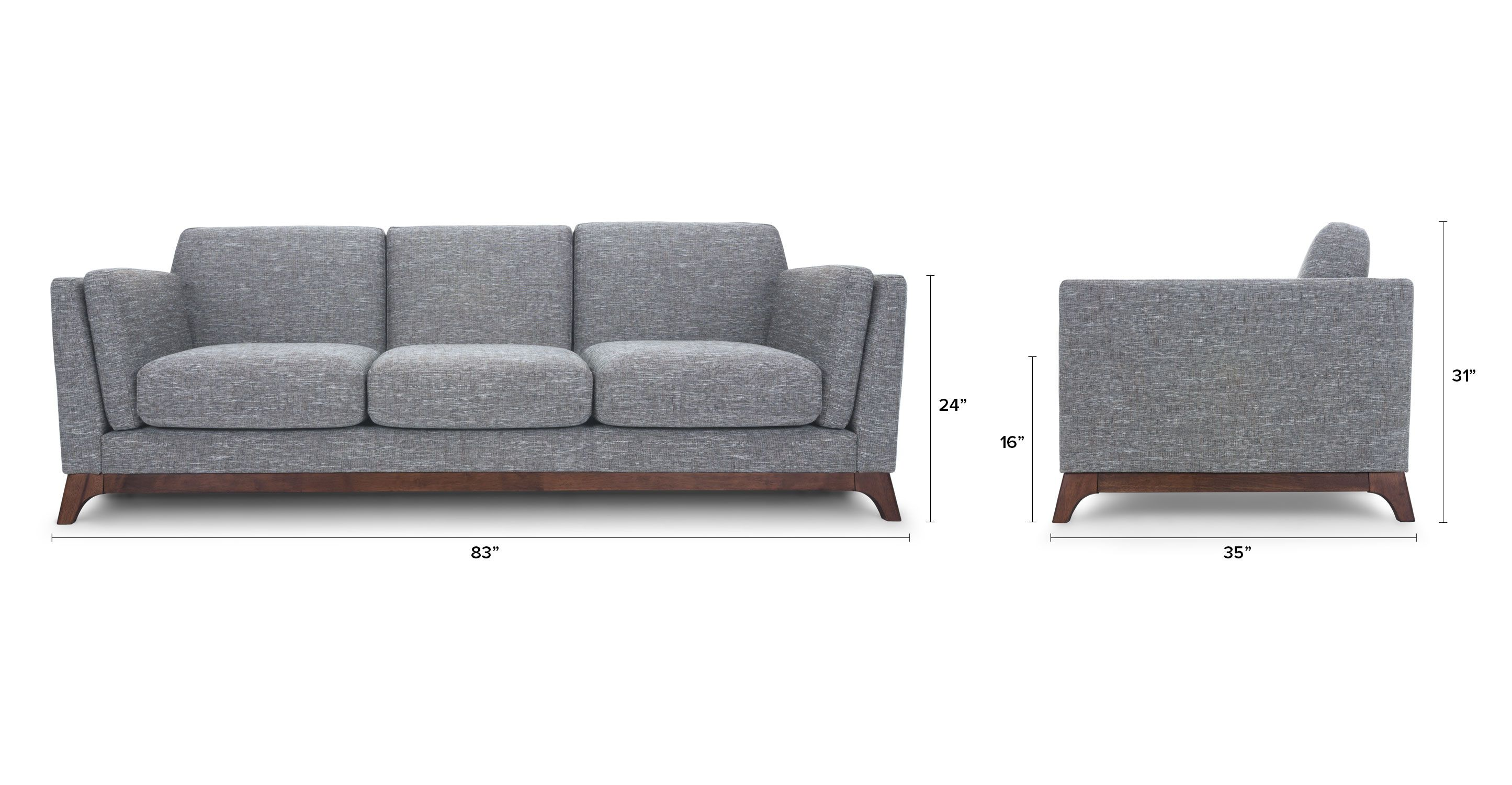 Gray Sofa 3 Seater With Solid Wood