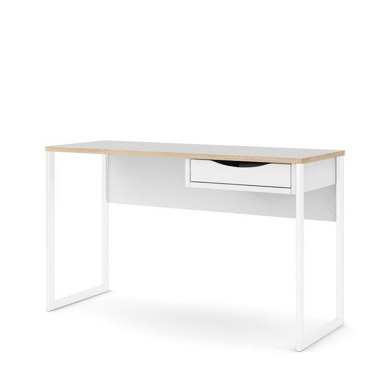 Tvilum Wells Plus One Drawer Desk White Matte Oak Structure Walmart Com In 2020 Desk With Drawers Tvilum Desk