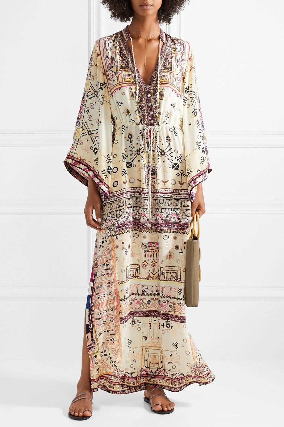 The Long Way Home Embellished Printed Silk Crepe De Chine Maxi Dress - Cream Camilla Enjoy For Sale Cheap Largest Supplier Sale Marketable Free Shipping Hot Sale Choice Cheap Online gmzxPm