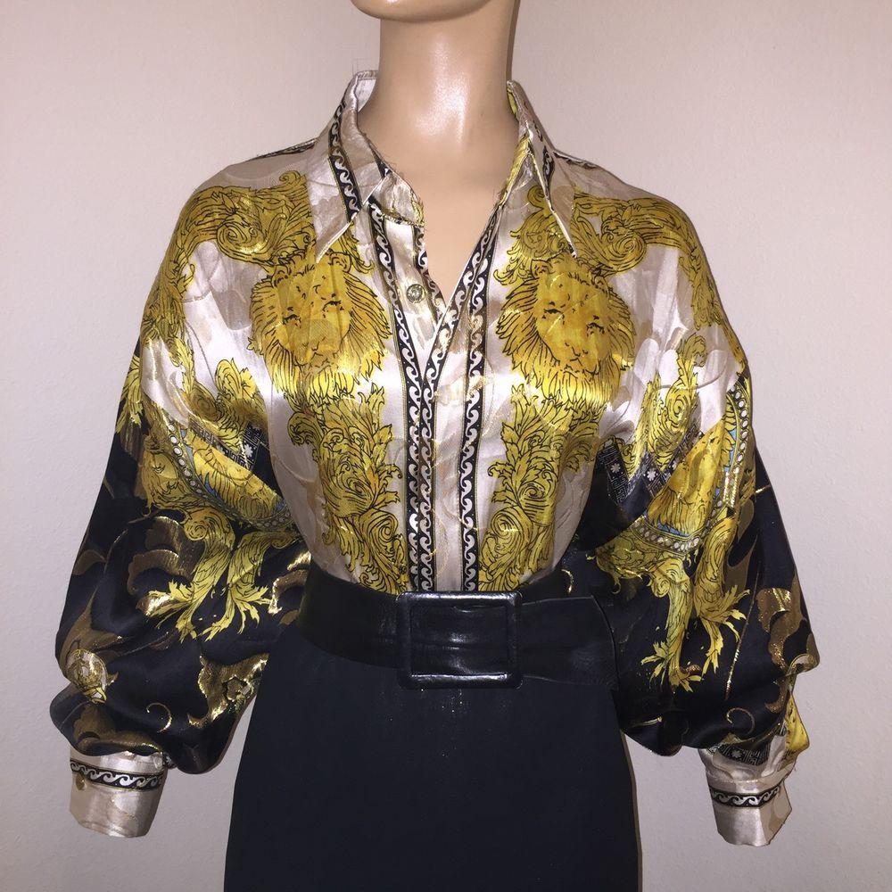 "XL GOLD Metallic Black/Wht Silk SATIN Shiny BLOUSE Vtg LION Scarf Print Bust 48""    eBay"