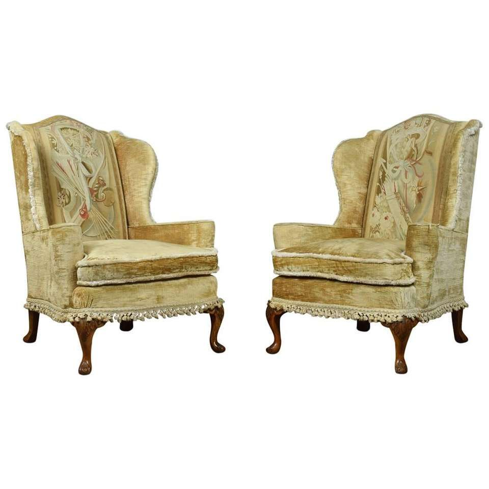 Pair of Queen Anne Wingback Armchairs For Sale | Wingback ...