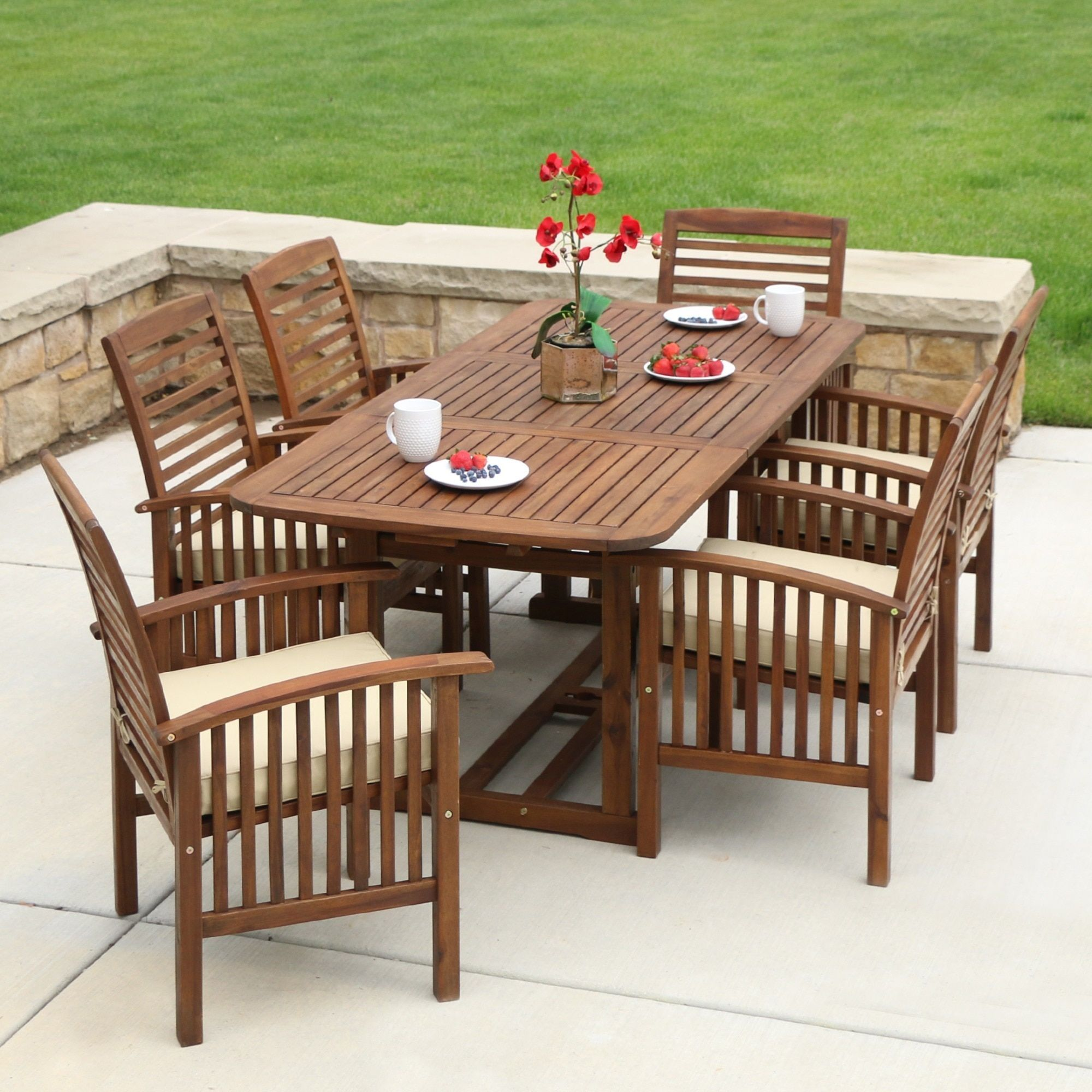 7 piece acacia wood patio dining set brown size 7 piece sets patio furniture