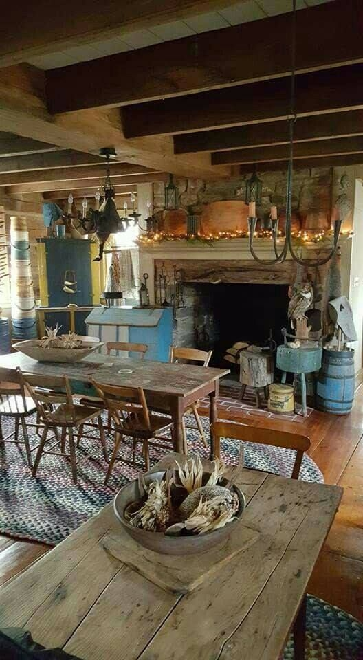 Primitive Dining Rooms Kitchen Decor Country Fall Fireplace Rustic Fireplaces Tiny House Interiors
