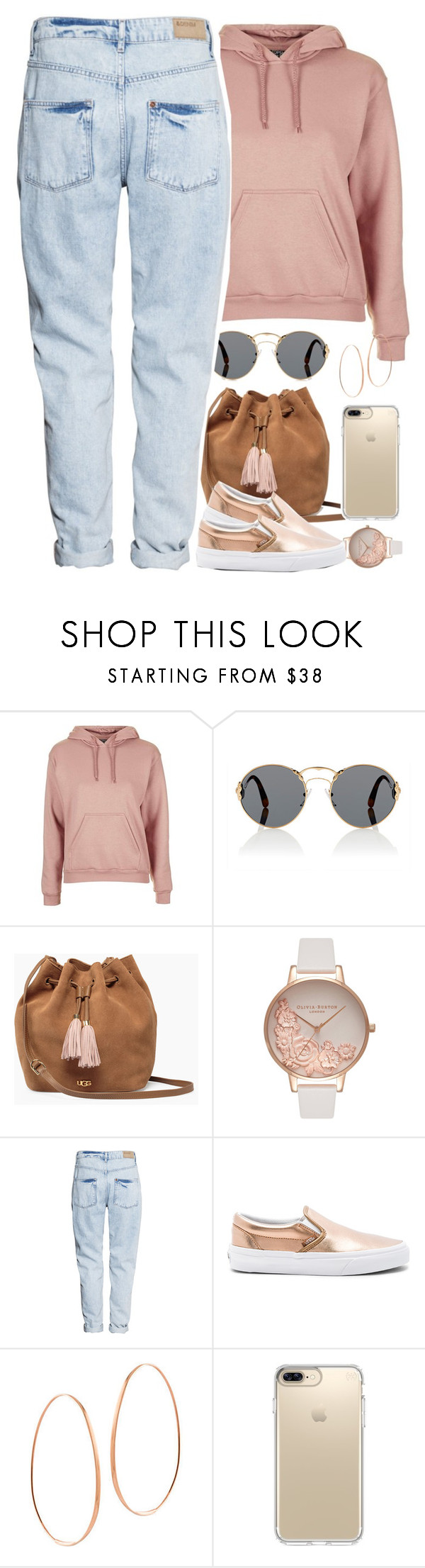 """""""."""" by daisym0nste ❤ liked on Polyvore featuring Topshop, Prada, UGG, Olivia Burton, H&M, Vans, Lana and Speck"""