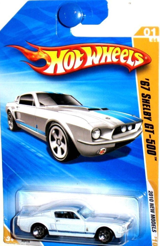 1967 Shelby Gt 500 Hot Wheels 2010 New Models 01 44 Wimbledon White Blue Stripe Hot Wheels Shelby Gt Hot Wheels Cars
