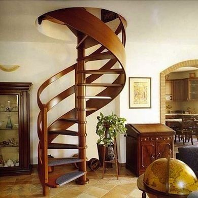 Curved Wood Spiral Staircase