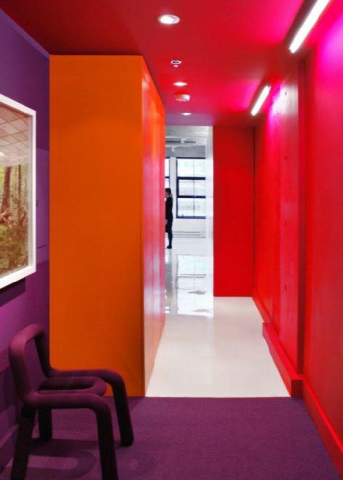Farbgestaltung Wohnzimmer Wandgestaltung Wanddesign Rot Orange