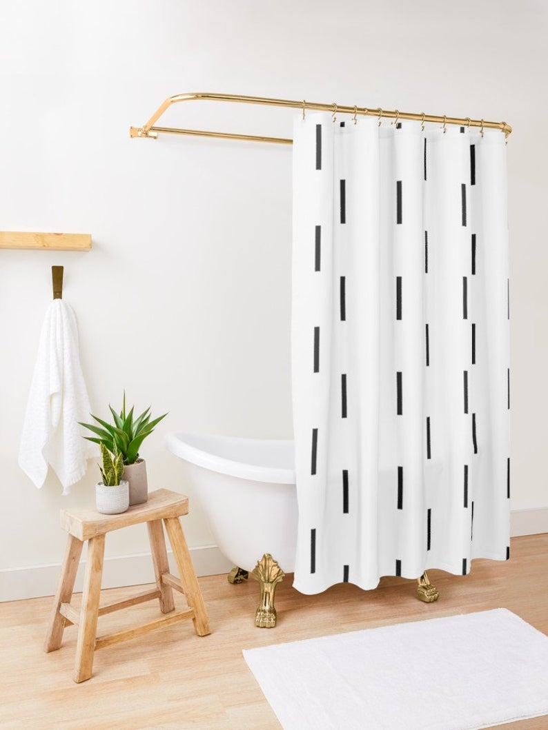 Black And White Extra Long Geometric Boho Shower Curtain Add
