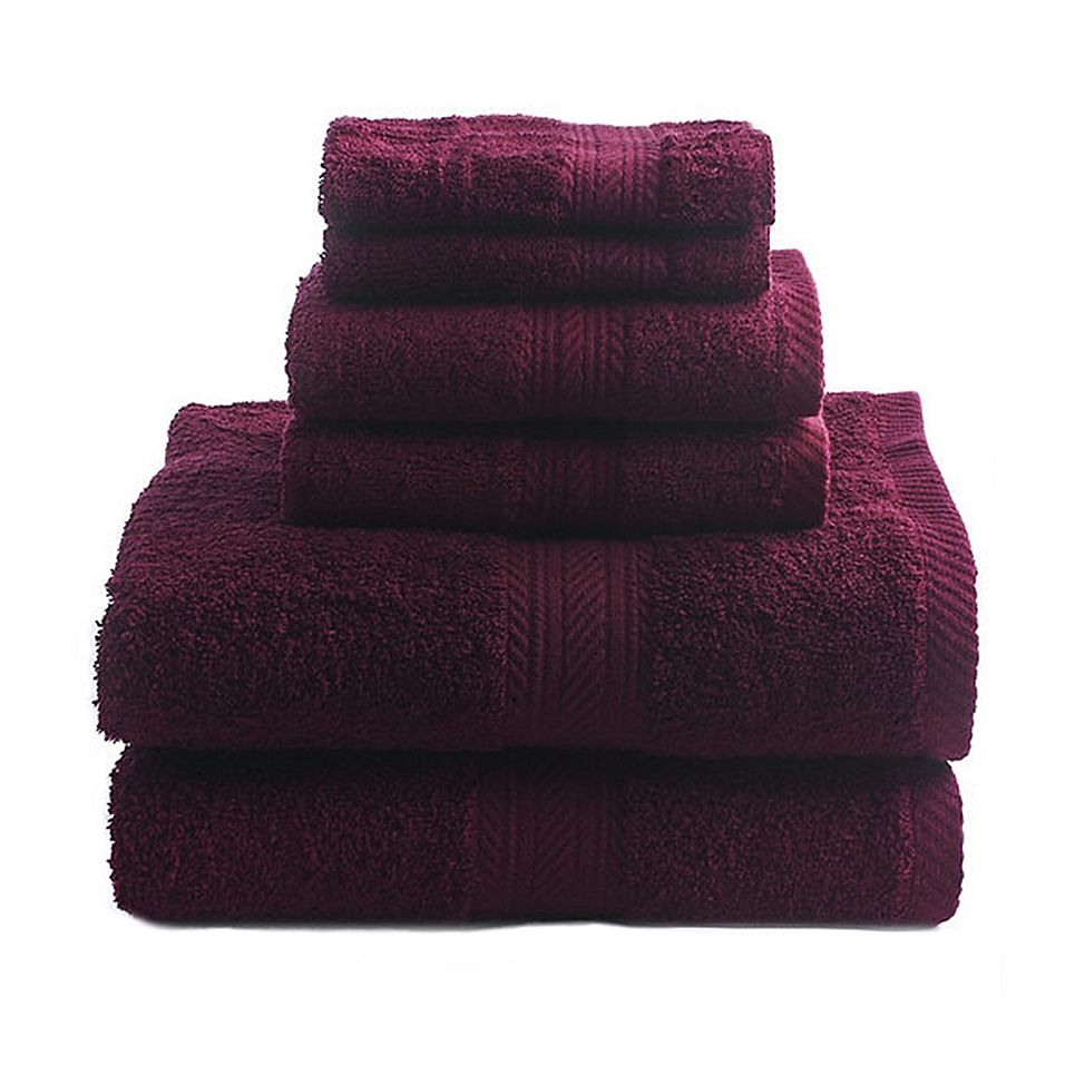 Signature 6 Piece Bath Towel Set In Wine Bath Towel Sets Bath