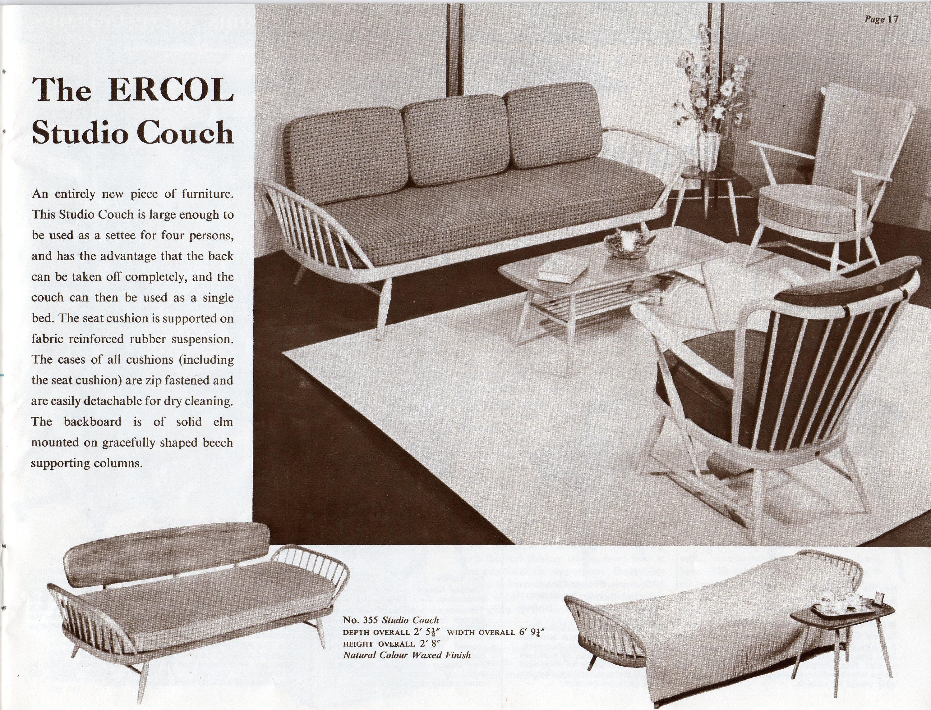 1959 Ercol Catalogue Featuring The Ercol Studio Couch, Evergreen Chair And  1459 Coffee Table