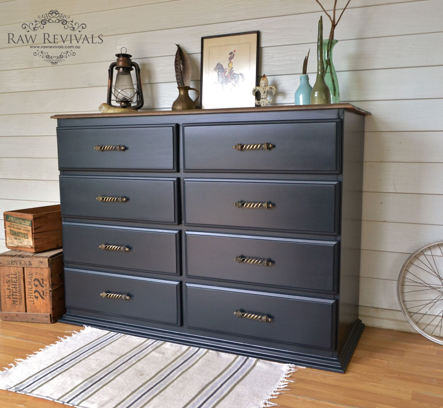 Large Chest Of Drawers Painted In Midnight Blue And Brass Handles Added Timber Top