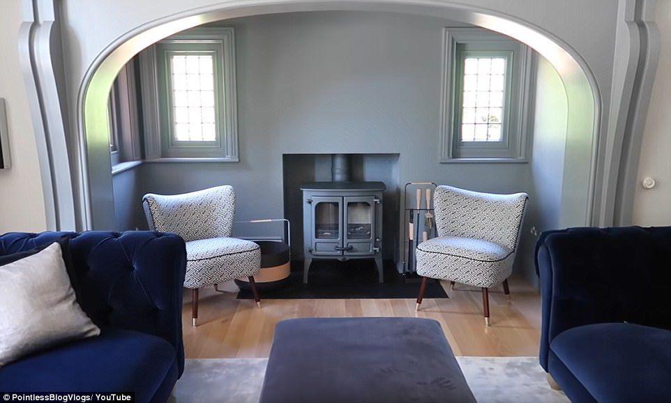 Navy Living Room Log Burner Zoella And Alfie Deyes Move Into