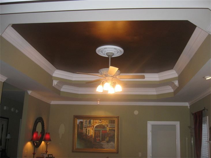Benjamin Moore Bronze Metallic Paint I Love Ceilings Painted Other Than White Only Works In Certain Rooms Though Home Home Decor Painted Ceiling