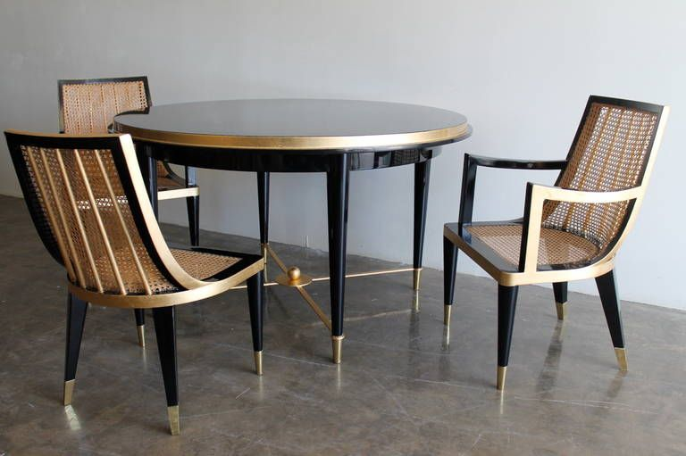 gold leaf and black lacquer dining set by arturo pani mexico city rh pinterest com