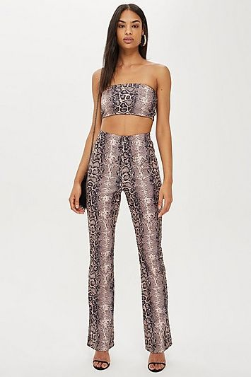 786dd34891a Womens Faux Snakeskin Flare Trousers By We Own The Night - Brown ...