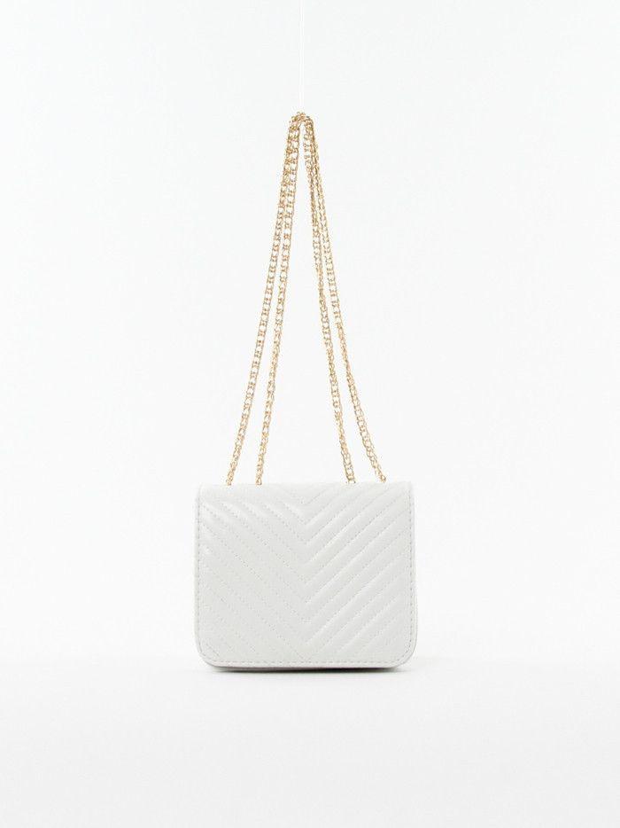 Chevron Cross-body Bag in White