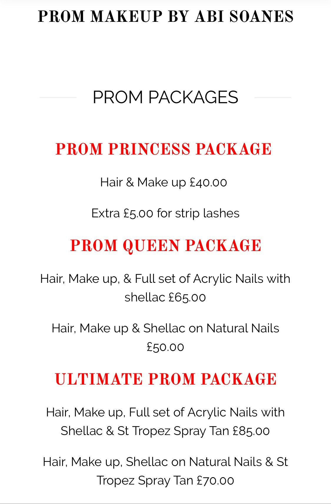 Check Out Our Prom Packages Available To Book Now 50 Deposit Required For All Bookings And Trials Available Upon Re Up Hairstyles Makeup Studio Strip Lashes