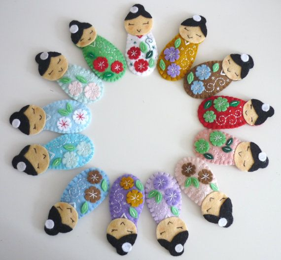 Japanese Kokeshi felt hairclips - children- girls- summer trends