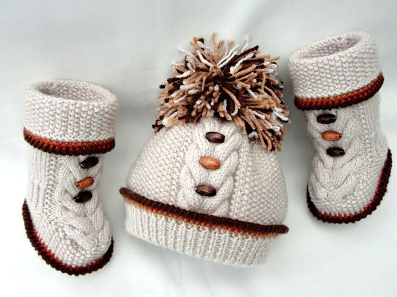 Photo of Knitting PATTERN Knitted Baby Set Baby Shoes Baby Beanie Knitted Baby Hat Kids Pattern Baby Booties Baby Boy Baby Girl Pattern ( PDF file )