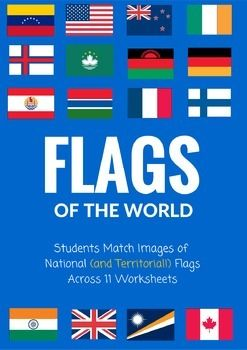 The Flags Of The World Matching Assignment Packet Requires Students To Match Up The Names Of Co Flags Of The World Substitute Lessons Social Studies Worksheets