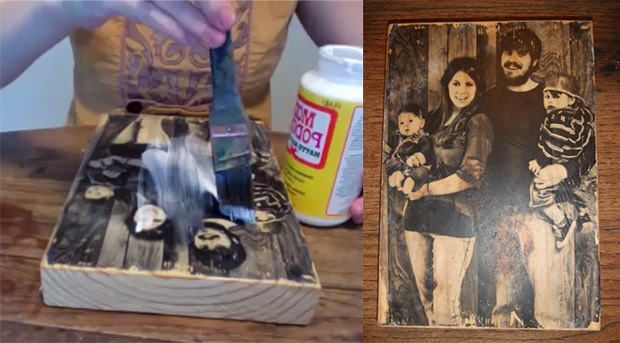 Gel medium to wood, picture face down overnight, rub paper/residue off, seal with mod podge...awesome...