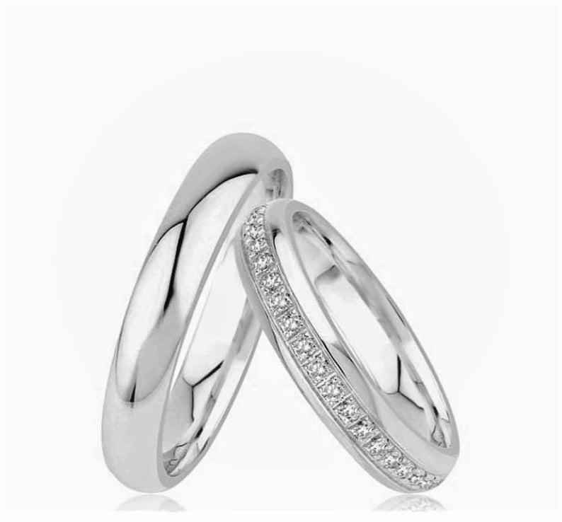 4 00mm Silver Wedding Band Eternty Men Woman Band Etsy In 2020 Silver Wedding Bands Mens Wedding Rings Gold Silver Wedding
