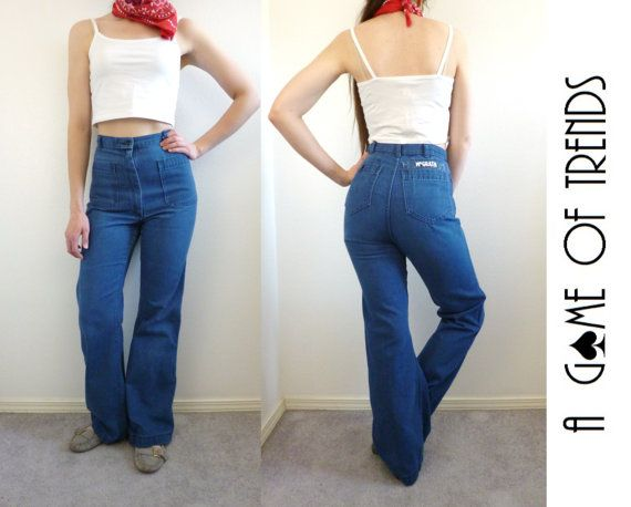 8874162c691 Vintage 70s jeans. Feature an ultra high rise and front patch pockets