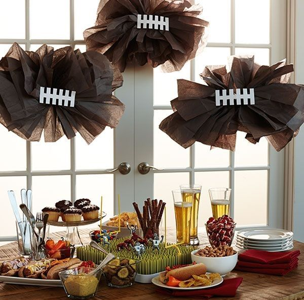 20 Diy Football Decorations For A Tailgate Tablescape Coupons Com Football Party Decorations Diy Football Party Football Decorations