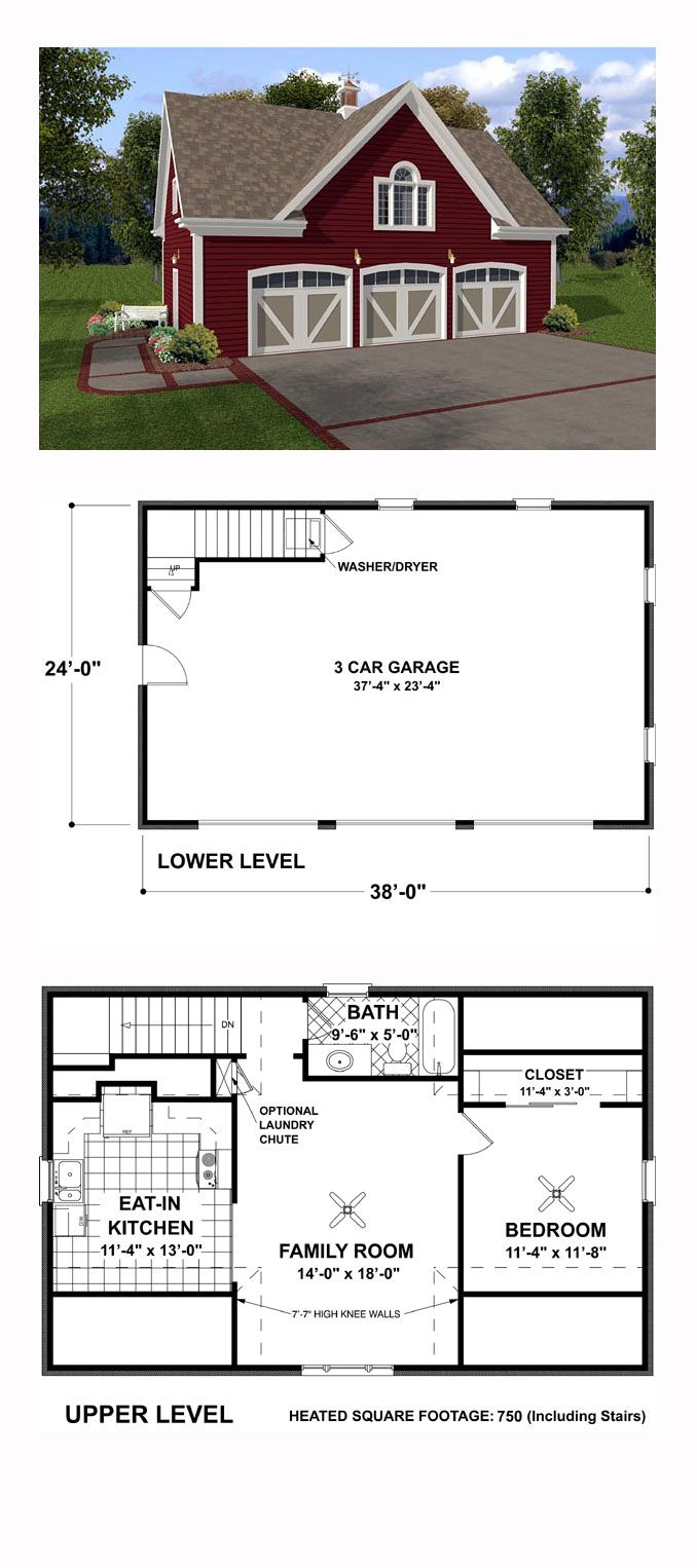 Garage Apartment Plan 93472 | Total Living Area: 750 Sq. Ft., 1 Bedroom And  1 Bathroom. With Siding Exterior Reminiscent Of A Country Barn, This Plan  Would ...
