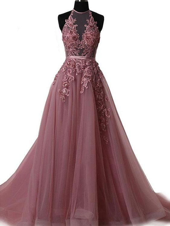 A-line Halter Sweep Train Tulle Appliqued Sequined Beaded Prom Dress ...
