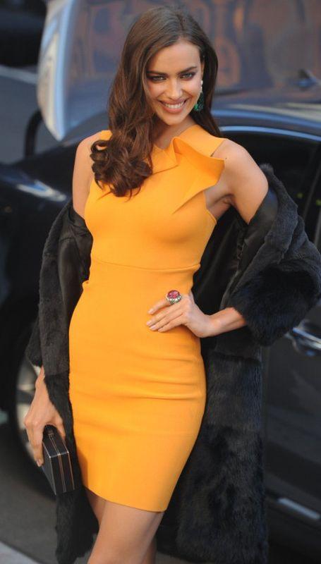 Orange Deep-V-Neck On Back Bandage Dress