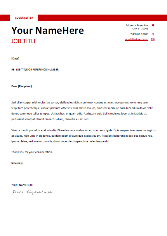 Free Clean And Simple Cover Letter Template For Word DOCX Red - Simple cover letter template word
