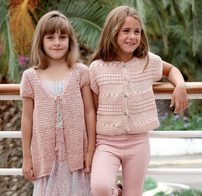 2 Free knitting pattern for a short jacket for a little girl with short sleev...