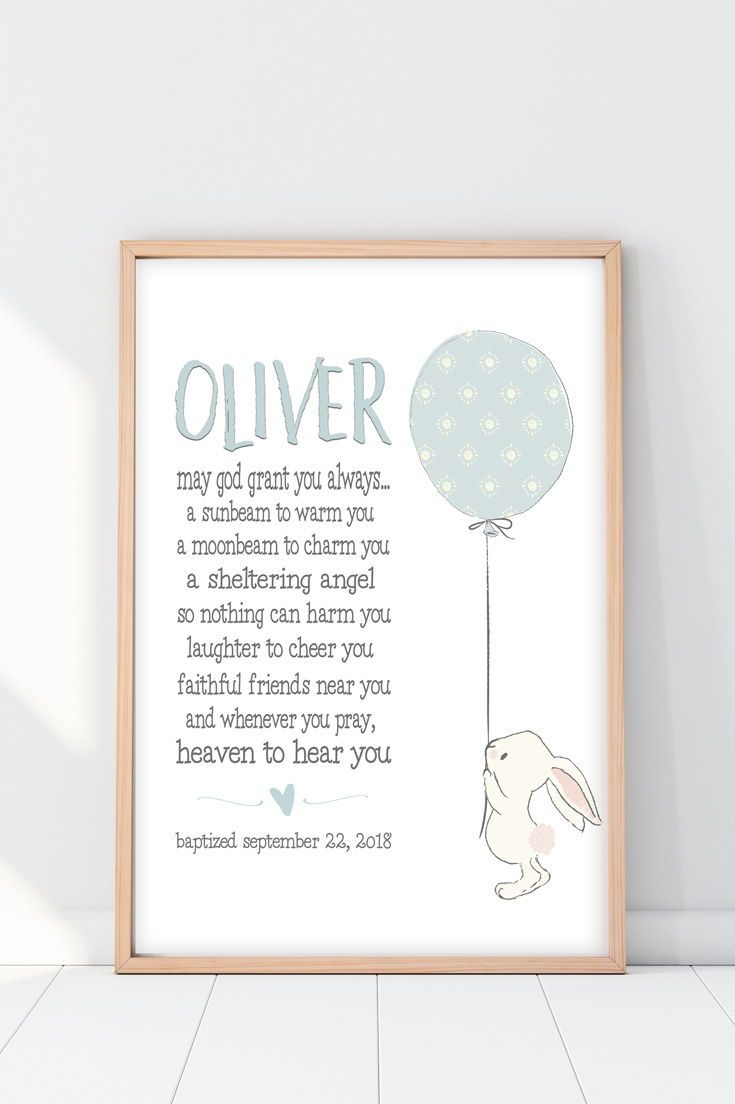 Christening Gifts From Godparents Bunny Blessing Print Baby Boy Baptism Gifts Baby Baptism Gifts Baptism Gifts For Boys