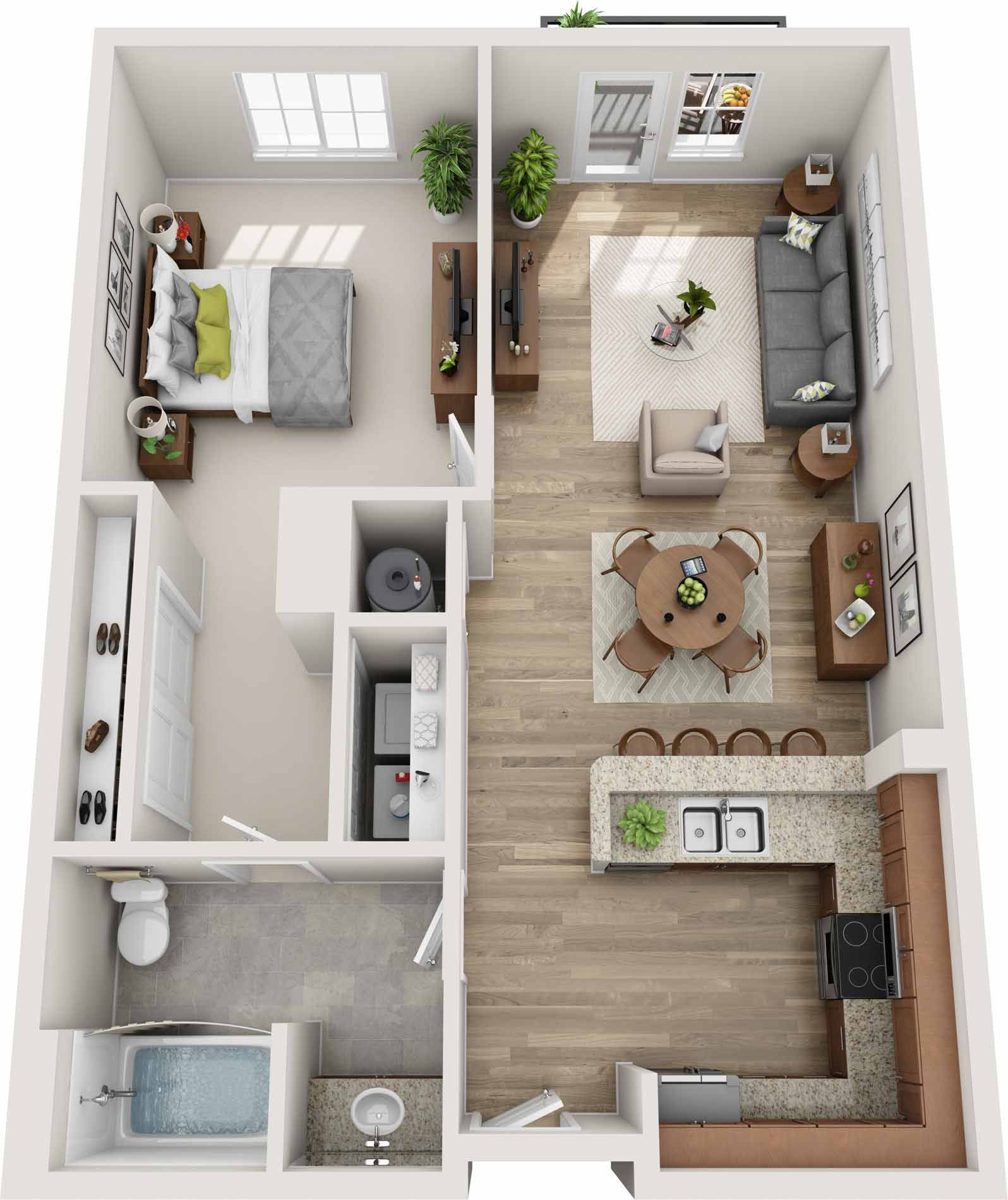 Pin By Digus Alexius On Home Small Apartment Floor Plans Open Floor Plan Apartments Open Plan Apartment Layout