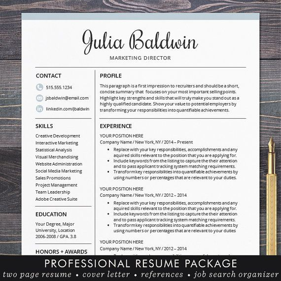 Professional Resume Template for Word and for Mac Pages Creative CV ...