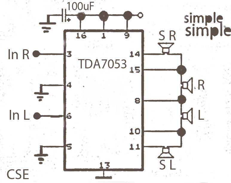 simple surround power amplifier with ic tda7053 audio pinterest rh pinterest com