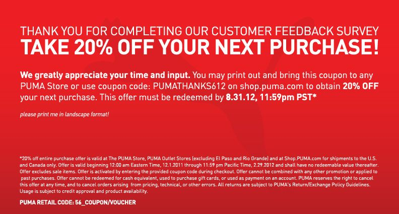 puma discount survey