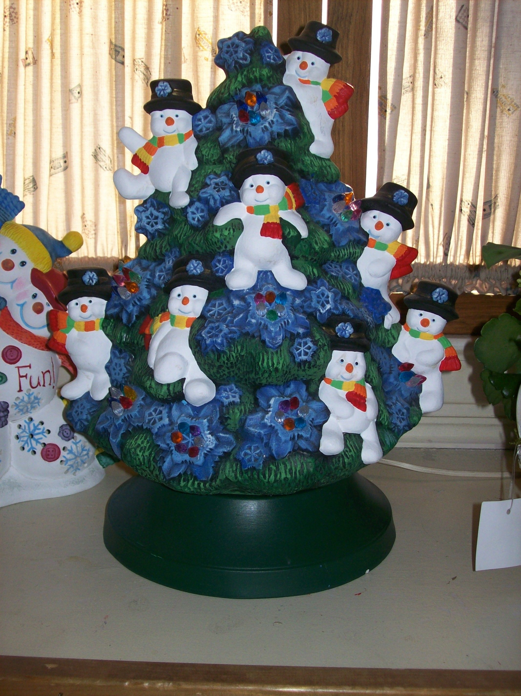 Hand Painted Ceramic Snowman Christmas Tree Christmas Crafts