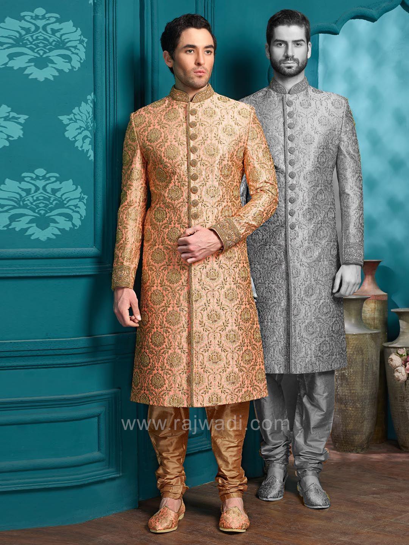 Indo western sherwani in peach color rajwadi designer exclusive