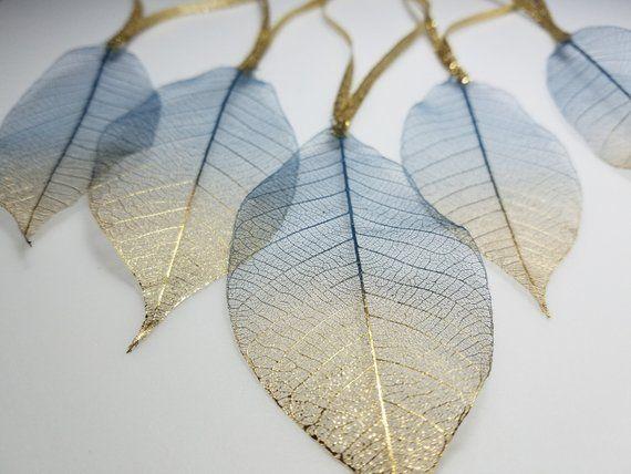 Iridescent light gold bodhi skeleton leaves