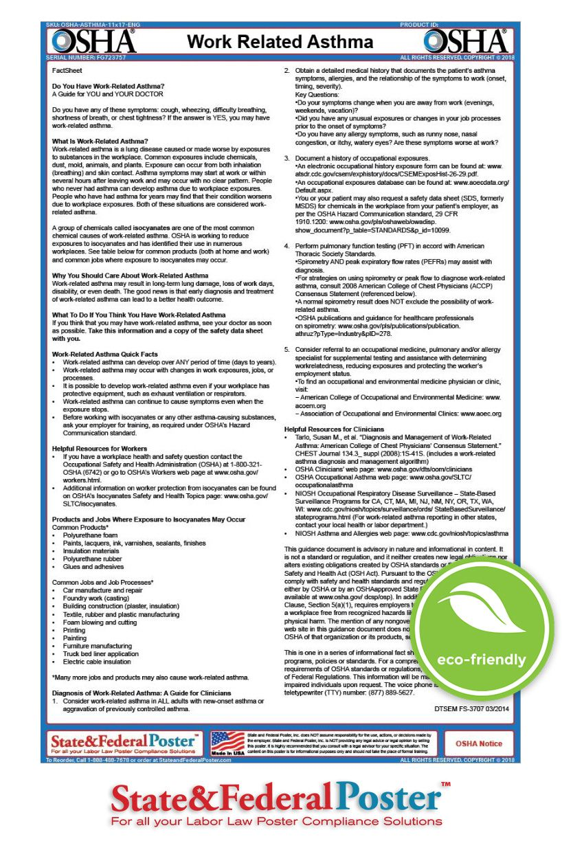 OSHA Asbestos Factsheet! •Informs employees of key safety
